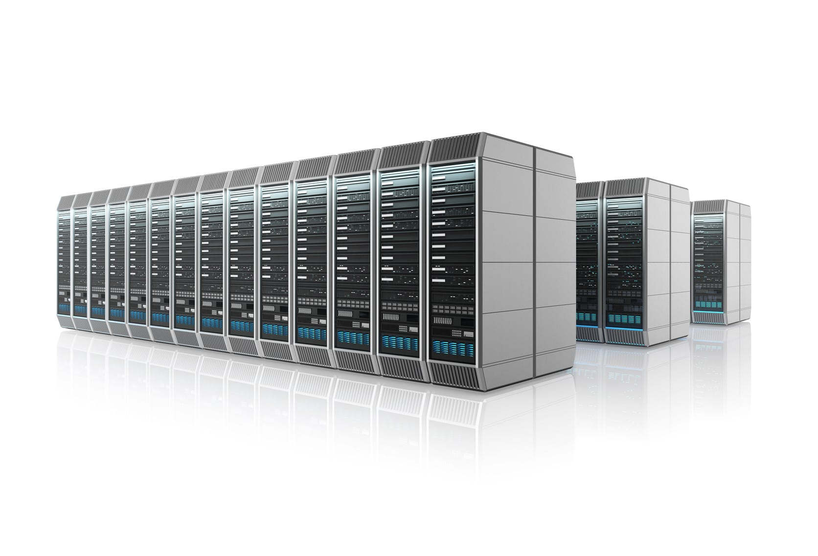 Rows of servers in cloud data center